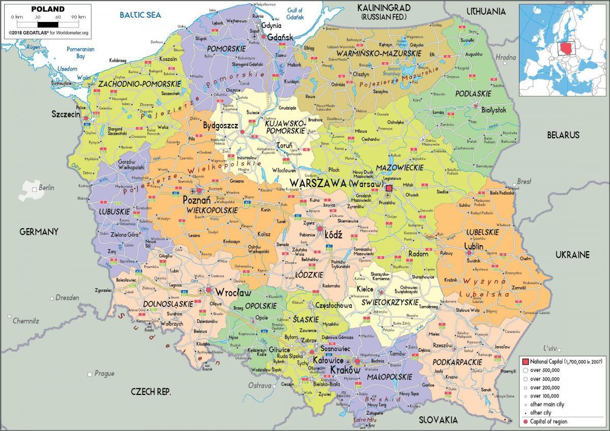 Karta Lander I Europa.Karta Over Polen Och Omgivande Lander Polen Och Omgivande Lander